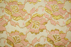 Gold guipure, embroidery on cloth texture Stock Image