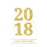 Gold 2018-guten Rutsch ins Neue Jahr-Vektor auf weißer Hintergrundfahne mit goldenem funkelndem Beschaffenheitseffekt Stockfotos
