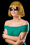 Gold hair women. With sun glasses Stock Image