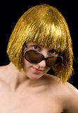Gold hair women. With sun glasses Stock Images