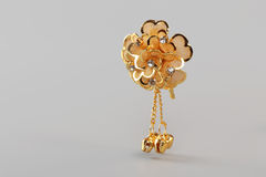 Gold Hairpin with Beads Royalty Free Stock Photography
