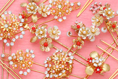 Gold hairpin Stock Photography