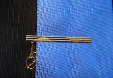 Gold hairpin for a tie Royalty Free Stock Photography