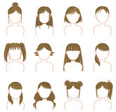 Gold hairstyle icon collection set Royalty Free Stock Photo