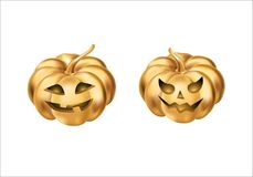 Gold halloween pumpkins. Happy Halloween pumpkin. Halloween party decoration. Golden pumpkin party design, event . Gold pumpkins party elements for celebration Stock Image