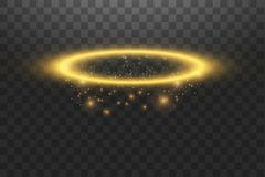 Free Gold Halo Angel Ring. Isolated On Black Transparent Background, Vector Illustration Royalty Free Stock Photography - 143275067