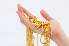 Gold on hand Royalty Free Stock Photo