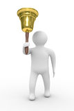 Gold hand bell and man Royalty Free Stock Photo