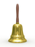 Gold hand bell on white background Stock Images