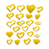 Gold Hand Drawn Brush Hearts. Vector Illustration of Grunge Paint Stain Royalty Free Stock Image
