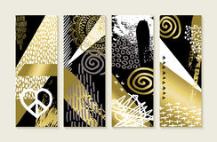 Gold hand drawn illustration abstract art set. Set of abstract memphis art style designs in gold color with hand drawn illustrations and grunge decoration. EPS10 Royalty Free Stock Image