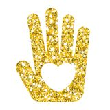 Gold hand with hear white Stock Photo