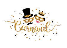 Gold hand lettering Carnival. With shiny glittering masquerade masks isolated on white background. Vector illustration. Man with mustache and cylinder and Stock Photo