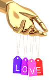 Gold hand with love tags Royalty Free Stock Images