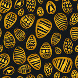 Gold hand-painted egg pattern Royalty Free Stock Images
