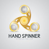 Gold hand spinner fidget toy. Hand fidget spinner toy stress and anxiety relief stock illustration