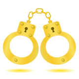 Gold handcuffs Stock Image