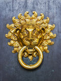 Gold handle and knocker with lion Royalty Free Stock Photo