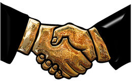 Gold handshake Royalty Free Stock Image