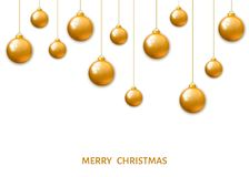 Gold  hanging Christmas balls isolated on white background. Royalty Free Stock Photography