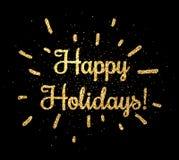 Gold happy holidays sign on black. Golden happy holidays print on black background. Vector illustration Stock Photography
