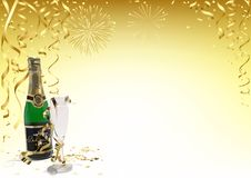 Gold Happy New Year Background with Champagne. Golden Confetti, Ribbons and Fireworks - Abstract Festive Illustration, Vector Royalty Free Stock Photo