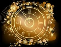 Gold Happy New Year background. With clock stock illustration