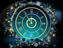 Gold Happy New Year background. With clock vector illustration