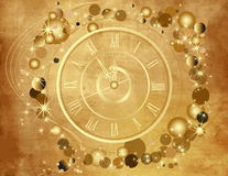 Gold Happy New Year  background. With clock Stock Photos
