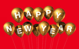 Gold happy new year balloons. Isolated on red stock illustration