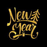 Gold Happy New Year Card. Golden Shiny Glitter. Calligraphy Greeting Poster Tamplate. Black Background Royalty Free Stock Photography