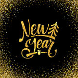 Gold Happy New Year Card. Golden Shiny Glitter. Calligraphy Greeting Poster Tamplate. Black Background Royalty Free Stock Image
