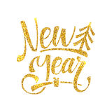 Gold Happy New Year Card. Golden Shiny Glitter. Calligraphy Greeting Poster Tamplate. Isolated White Background Stock Images