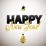 Gold Happy New Year Card. Golden Shiny Glitter. Calligraphy Greeting Poster Tamplate. White Background Royalty Free Stock Photo