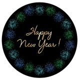 Gold happy new year in colorful fireworks frame. Gold happy new year typography in colorful fireworks circle frame  graphic Royalty Free Stock Photo
