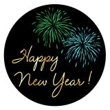 Gold happy new year with colorful fireworks. On black circle vector graphic royalty free illustration