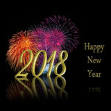 Gold 2018 Happy New Year Fireworks Royalty Free Stock Photography