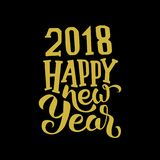 Gold 2018 happy new year. On black backround Royalty Free Stock Photos