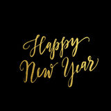 Gold Happy New Year greeting text on black background. Luxury lettering for vip holiday card design Vector Illustration