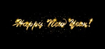 Gold Happy New Year greeting text. On dark background. Luxury lettering for vip holiday card design vector illustration