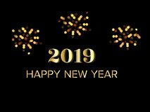 Gold Happy new year 2019 greeting text with fireworks at dark night. vector illustration