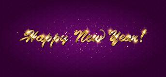 Gold Happy New Year greeting text. On dark background. Luxury lettering for vip holiday card design stock illustration