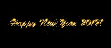 Gold Happy New Year greeting text. On dark background. Luxury lettering for vip holiday card design royalty free illustration