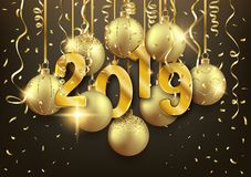 Gold 2019 Happy New Year postcard design with decorative balls,. Vector illustration vector illustration