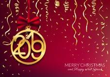 Gold 2019 Happy New Year postcard design with decorative balls,. Vector illustration stock illustration