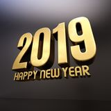 Gold Happy New Year 2019 Text. Design 3D Illustration, Golden 2019 Happy New Year Festive Background for Your Seasonal Flyers and Greetings Card or Christmas Stock Photo