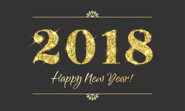 Gold 2018 Happy New Year vector black background Stock Image