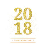 Gold 2018 Happy New Year vector on white background banner with golden glittering texture effect. Stock Photos