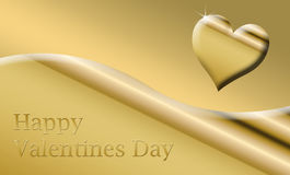 gold happy valentines card Royalty Free Stock Photos