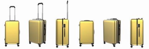 Gold hard case luggage isolated on white Stock Image